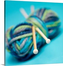 Close up of ball of wool and knitting needles