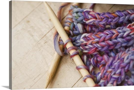Large Knitting Needles And Wool Uk : Close up of knitting needles and yarn photo canvas print