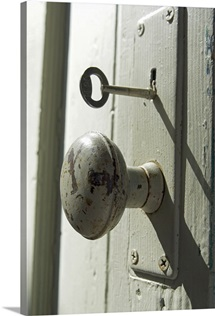Close-Up of Old Doorknob and Key