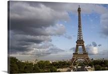 Cloudy sky behind Eiffel Tower, Paris, France