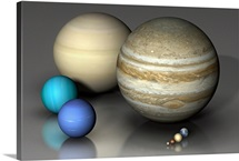 Comparing the eight major planets on the same scale