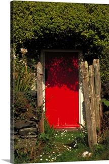 Cottage Door, Harlech, Gwynedd, Wales.