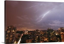 Crazy lighting bolts all night long Downtown Toronto.