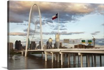 Dallas skyline with Margaret Hunt Hill Bridge, Texas