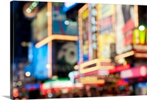 Defocused street scene from Times Square in Midtown Manhattan