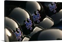 Detail of New York Mets helmets