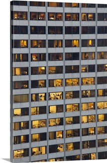 Detail view of Financial District office building at dusk, Boston, Massachusetts, USA
