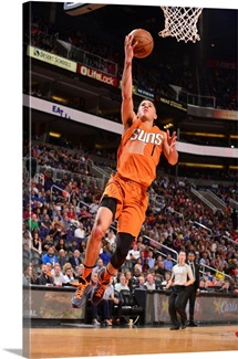 Devin Booker 1 of the Phoenix Suns shoots a layup against the Houston Rockets