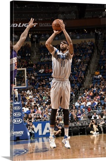Devyn Marble of the Orlando Magic shoots against the Phoenix Suns