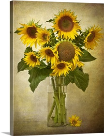 Digital composite of a vase of sunflowers