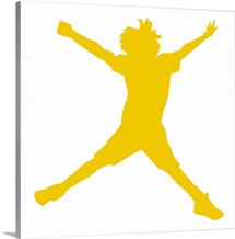 Digital illustration of yellow silhouette of boy doing star jump