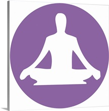 Digital illustration of yoga lotus position in purple circle on white background