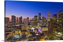 Dowtown city skyline at dusk/sunset/night, Houston, Texas, USA.