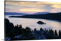 Dramatic clouds at sunset over Emerald Bay in Lake Tahoe, CA