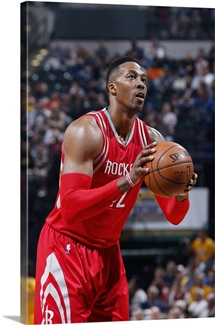 Dwight Howard of the Houston Rockets shoots a free throw against the Indiana Pacers