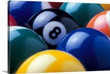 Eight ball among other billiard balls