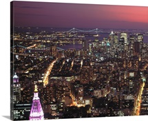 Elevated view of Manhattan at night