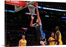 Ersan Ilyasova of the Orlando Magic puts up a layup during the first half