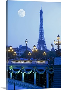 Evening view of Eiffel Tower at moonrise