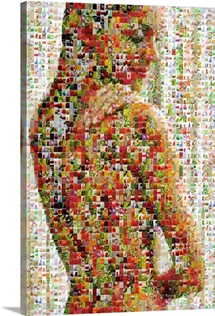 Female beauty portrait made out of healthy food