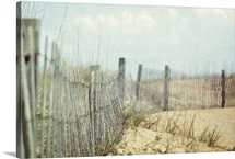 Fence on sand dunes at beach.