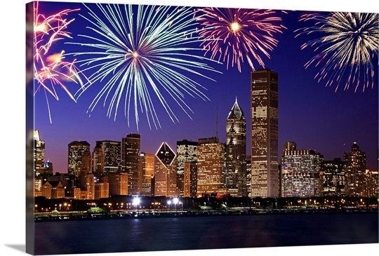 fireworks over chicago skyline photo canvas print great