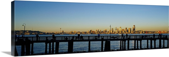 Fishing pier and skyline seattle wa photo canvas print for Seattle fishing pier