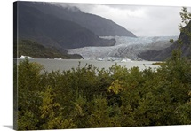 Foggy day on Mendenhall Glacier in Tongass National Forest near Juneau, Alaska