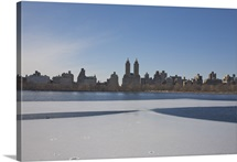 Frozen ice on Jacqueline Onassis Reservoir in Central Park, New York, NY, USA