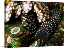 Gambling chips jumbled together, close-up