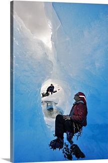 Glacier climbers exploring the crevasses of the glacier. Glaciar Grey. Chile.