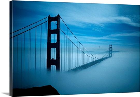 Golden Gate Bridge in fog, San Francisco, California