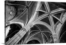 Gothic Style Architecture of Church, Black and White