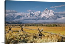 Grand Tetons with wooden fence in Wyoming US.