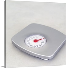 high angle view of a bathroom scale