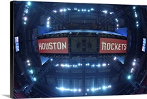Houston Rockets logo from above  at the Toyota Center on May 6, 2015 in Houston, Texas
