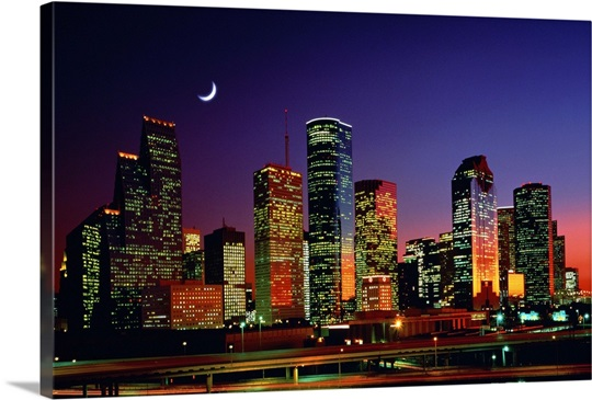 Houston skyline at night, Texas Photo Canvas Print | Great Big Canvas: www.greatbigcanvas.com/view/houston-skyline-at-night-texas,2082352