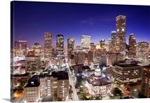 Houston skyline illuminated.