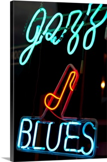 Illuminated Jazz and Blues sign on Beale Street in Memphis