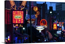 Illuminated signs on Beale Street in Memphis, Tennessee