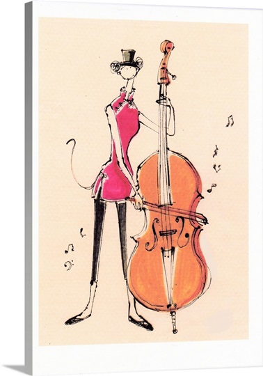 Illustration of a woman playing a cello