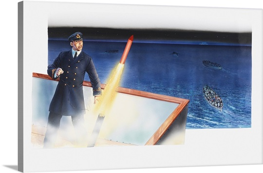 Illustration Of Sailor Firing Distress Rocket From Deck Of