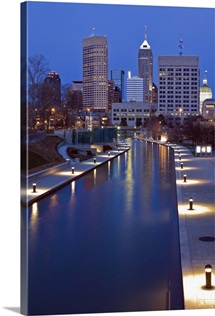 Indiana, Indianapolis, Skyline with river