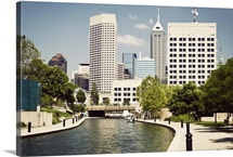 Indiana, Indianapolis, View of canal and skyscrapers