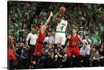 Isaiah Thomas 4 of the Boston Celtics shoots the ball during the game