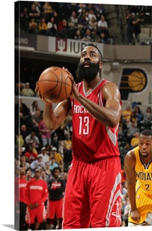 James Harden 13 of the Houston Rockets shoots a free throw