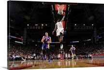 James Harden of the Houston Rockets goes up for a dunk against the Los Angeles Lakers