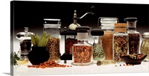 Jars of spices and herbs