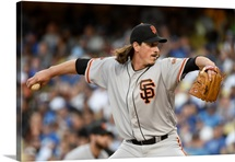 Jeff Samardzija of the San Francisco Giants pitches against the Los Angeles Dodgers