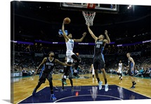 Jeremy Lamb of the Charlotte Hornets drives against the Orlando Magic